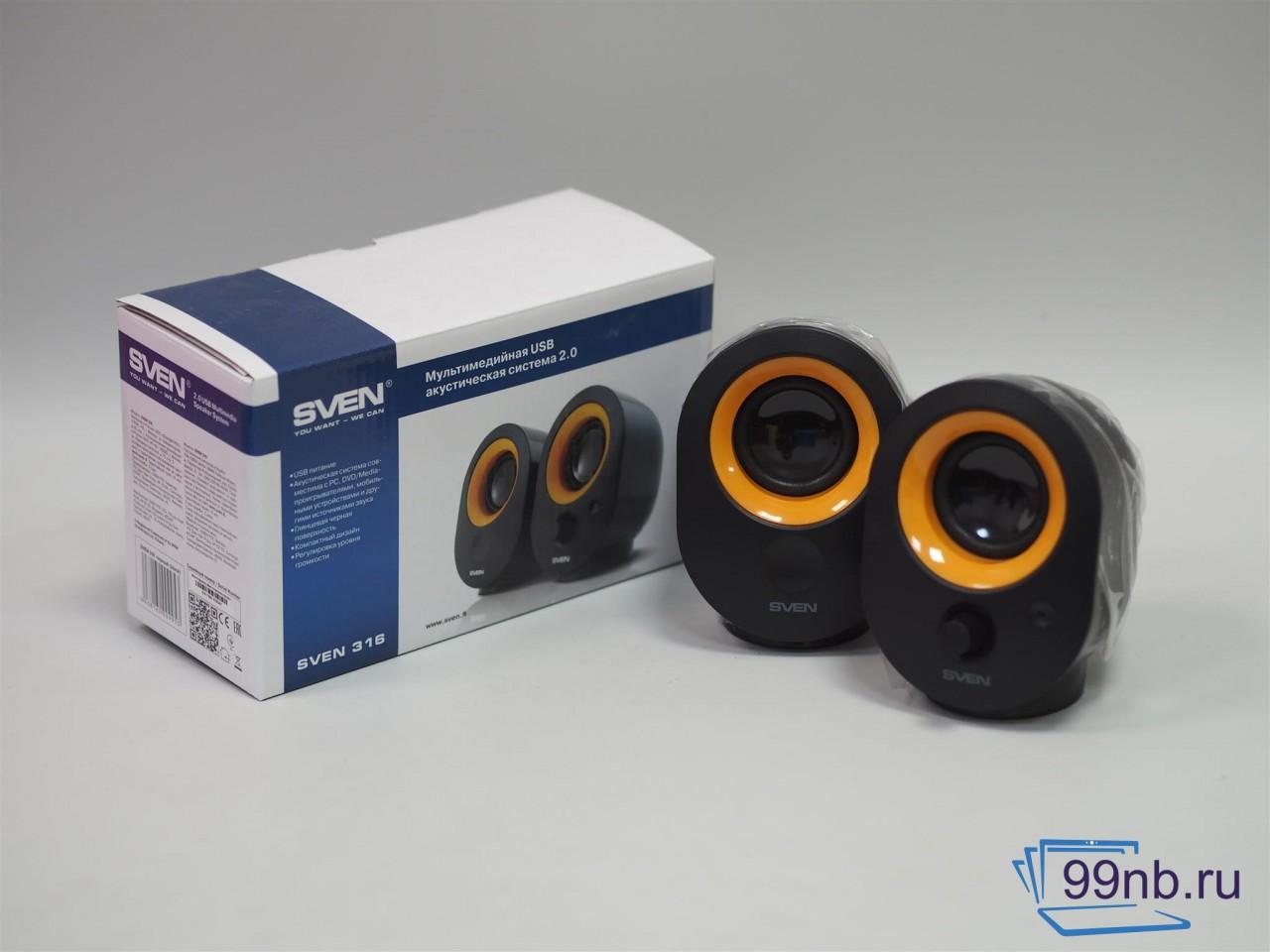 Мультимедийная USB акустическая система 2.0 черно/оранжевая SVEN